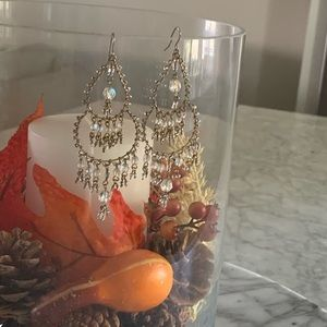 Classic gold and clear chandelier earrings